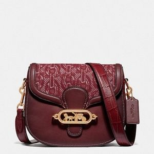 Coach NWT Red Leather Elle Saddle Bag Chain Print